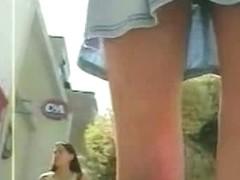 Teen up skirt video featuring a long legged teen in a mini skirt