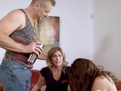 Kara Lee is having group sex with some friends and moaning during a very intense orgasm