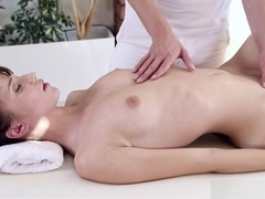 Pleasing young gal performing in massage with happy end