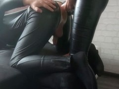 All Leather Pegging With Monster Dildo