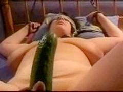 Cucumber slides in cunt