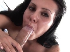 Sexy brunette is fingered and fucked hard with a dildo
