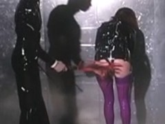 Lesbos in darksome and purple latex receive coarse