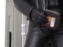 leather biker and mask rubber cigare smoke