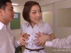 Horny teacher Ai Haneda pleases two students