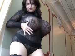 Huge Naturals in black lace teasing