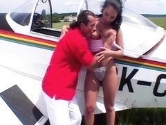 Laura Lion fucks a pilot outdoors, upscaled to 4K