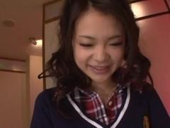 Kana Tsuruta enjoying rough fucking in her school uniform
