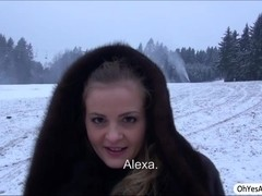 Russian chick Alexa flashes her boobs for cash and gets fucked hard