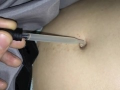 Cum in her soft bellybutton