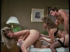 Vintage porn shows ffm threesome sex and facial