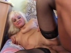 Sexy Blond Euro Granny Assbanged in Nylons