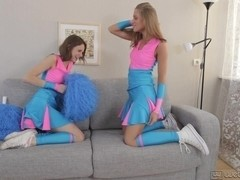 Cheerleader teens play lesbian games and act very dirty