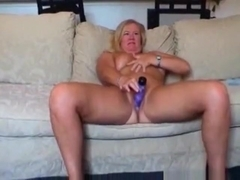Blonde usa milf gets a creampie in pov cowgirl position on the living room floor