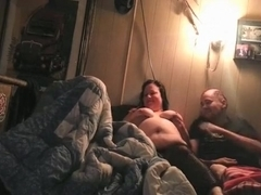 Dirty talking bbw slut tries a spitroasting threesome with 2 weird guys