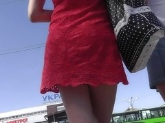 Upskirt public scene with gorgeous brunette doll