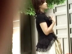 Hot Asian waiting for her date got no panties sharked
