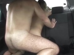 Voyeur nude girl in stockings drilled in taxi