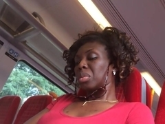 Ultra Close-Up of Beautiful Ebony Feet on the Train