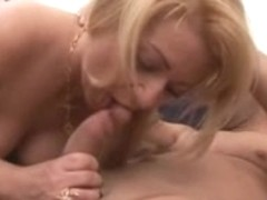 Blonde Italian whore rides cock and gets facial
