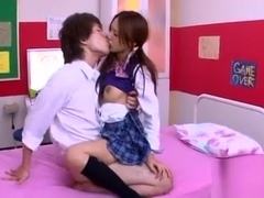 Pretty Asian Schoolgirl Shows Hairy Pussy And Rides Jock