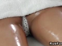 Blonde masseuse fingers petite brunette