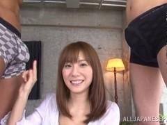 Yuma Asami Japanese milf enjoys a threesome