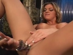 Golden-Haired Sweetheart Rides Machine and Toys With Herself