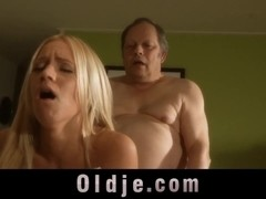 Amazing porn babe Kiara Lord bliss an old fart with her fresh puss
