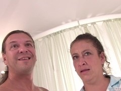 Milf with hairy beaver is humped and does fine blowjob