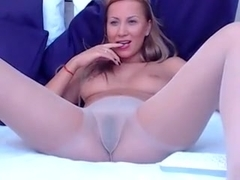 Golden-Haired livecam beauty with marital-device in her hose