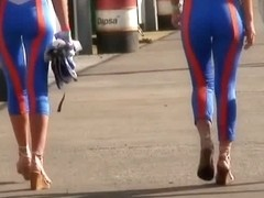 Street candid models in tight tracksuits