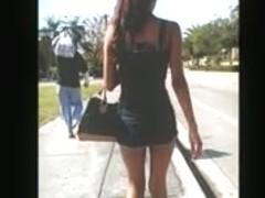 Skinny girl in booty shorts