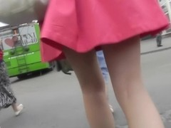 Amazing pussy upskirt with slim brunette girl