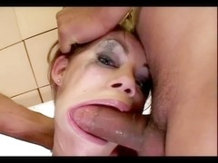 Gia takes a brutal facefuck from two fellows