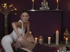 Masseuse stretching hairy lesbian brunette