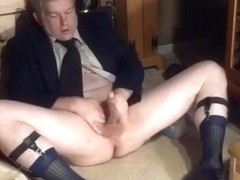 masturbating in coat, tie, tnt socks