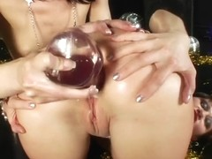 HotKinkyjo and her slut play with microphone in gaping