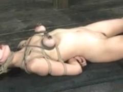 Asian, wax, tits bondage and blowjob