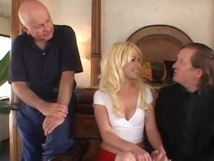 Sexy blond with precious booty receives her cunt licked from behind as her hubby watches
