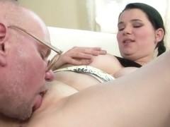 Young Laurea with gigantic tits sucks grandpa