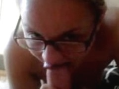 Amateur blonde babe sucking dong for a hot facial cumshot