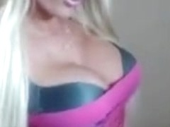 Busty Blonde Strips Sucks Dildo