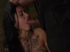 Ballgagged Cutie Deepthroated While Sitting On A Sex-toy