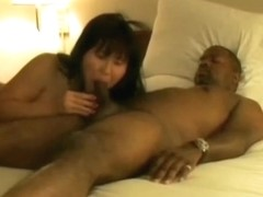 Breasty oriental swinger wife doubled up by dark