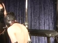 Domina Silvia trains thrall to engulf rod and eat cum