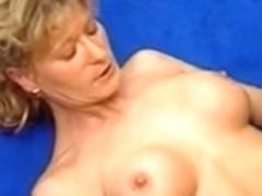 Horny german mature fucked on a sofa