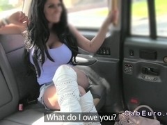 British bimbo get huge tits banged in cab
