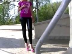breathtaking wetlook leggings pink heels