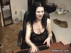 Brunette babe smoking masturbating on cam